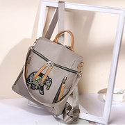 Women Nylon Elephant Embroidery Backpack Casual Shoulder Bag