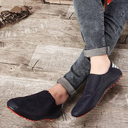 Men Pure Color Breathable Korean Style Slip On Flat Casual Business Shoes