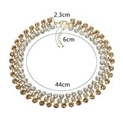 JASSY® Luxury Zirconia Necklace Transparent Black Light Topaz Rhinestone Pearl Collar Necklace