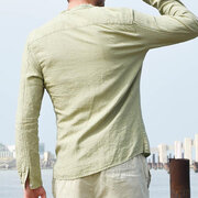 Solid Color Casual Cotton Stand Collar Long Sleeve Loose Shirt for Men