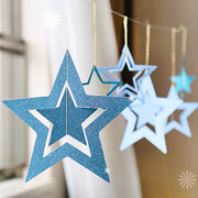 7Pcs/Set Hanging Hollow Stars Kids Birthday Party Wedding Christmas Decoration