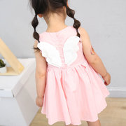 Angel Wings Girls Summer Dress Sleeveless Casual Cotton Dress for 1-9 Years