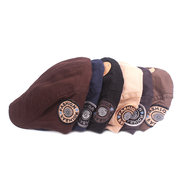 Mens Adjustable Pure Cotton Embroidery Letter Beret Caps Outdoor Breathable Visor Forward Hats