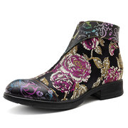 SOCOFY Retro First Layer Cowhide Butterfly Bloom Flowers Splicing Pattern Zipper Flat Ankle Boots