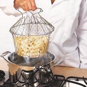 Plegable de vapor de enjuague de la cepa Fry French Chef Basket Magic Basket cesta de malla cesta de la red