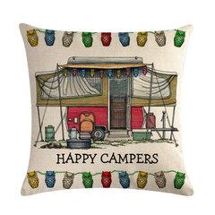 خمر الكرتون العربة فان نمط الكتان غطاء وسادة أريكة ديكور المنزل الفن رمي غطاء وسادة