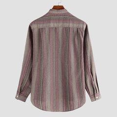 Mens 100% Baumwolle ethnischen Stil gestreift lose Stand Farbe Langarm Mode lässig Tasten T-Shirt