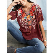Women's Short Sleeve Embroidered Top Embroidered Shirt Round Neck Shirt