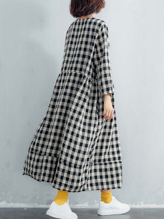 Vintage Plaid Crew Collo Loose Plus Size Maxi Dress con tasche