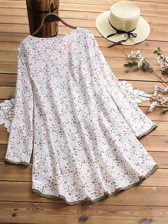 High Low Floral Print Fake Two Pieces Blouse For Women