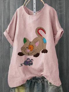 T-shirt taille été Plus à imprimé chat de dessin animé pour l'été