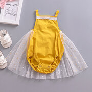 Cute Baby Girls Tulle Patch Design Rompers For 0-24M