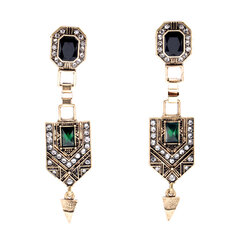 Emerald Diamond Ear Drop Rhinestone Earrings Long Style Earrings For Women