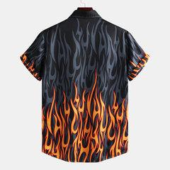 Chemises à manches courtes à col montant imprimées au feu pour hommes