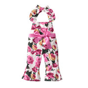 Floral Girls Casual Loose Comfy Cotton Overalls Jumpsuits For 1Y-7Y