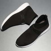 Men Elastic Knitted Fabric Breathable Light Weight Running Sock Sneakers
