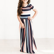 Maxi Party Dress in stile formale a righe per 1Y-11Y
