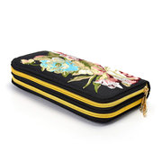Women National Style Long Wallet Embroidered Double Zipper 5.5 Inches Phone Bag