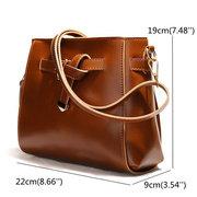Vintage Women Crossbody Bag Bucket Bag Solid Retro Shoulder Bag