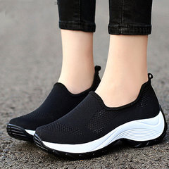 Women Lightweight Solid Color Breathable Hollow Mesh Platform Sneakers
