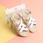 Girls Summer Solid Color Elastic Band Soft Bottom Comfy Beach Sandals