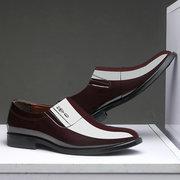 Chaussures à lacets en cuir de couleur pure résistantes pour hommes