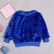 Solid Color Girls Tassel Patchwork Long Sleeve Tops For 1Y-7Y