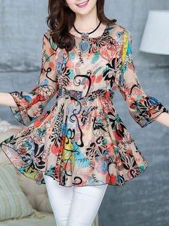 Women's Blouse O Neck Loose Floral Top
