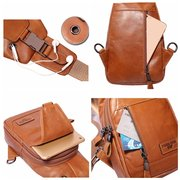 Ekphero Men Genuine Leather Shoulder Bag Vintage Chest Bags Crossbody Bags