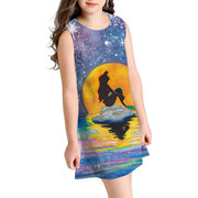Digital Print Girls Sleeveless Casual Dress For 8-13Years