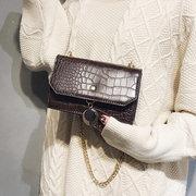 Women PU Leather Crocodile Pattern Crossbody Bag Chain Chic Shoulder Bag