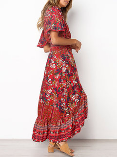 Bohemian Floral Print Irregular Short Sleeve Dress For Women