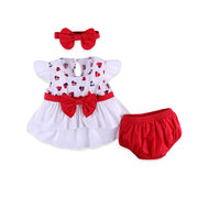 3Pcs Heart Pattern Soft Cotton Girls Clothing Set For 0-24M