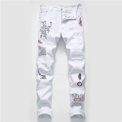 Men's New Fashion Print Hole Embroidery Jeans Street Men's Slim Denim Trousers