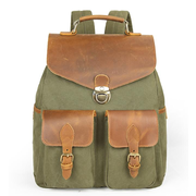 Vintage Men Outdoor Travel Canvas Large Casual Backpack With Cowhide