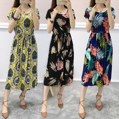 New Floral Dress Female Sleeves Tether Allentato Confortevole Beach Gonna Seaside Holiday Dress 13 colori