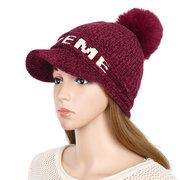 Cappello caldo da donna in maglia da baseball invernale caldo Vogue con pompon di pelliccia