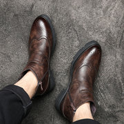 Men Vintage Brogue Carved Elastic Band Slip On Chelsea Boots