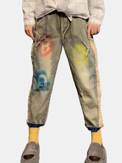 Distressed Letters Printed Straight Nine Jeans Denim