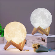 Christmas Decorations 20cm 3D Magical Two Tone Moon Lamp USB Charging LED Night Light Touch Sensor Gift