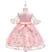 Flower Embroidery Girls Kids Bell Sleeve Princess Dress For 4-13Y