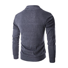 Mens Spring Fall Sweater Single-breasted Casual Solid Color Knitted V-Neck Cardigans