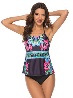Plus Size Print Halter Backless Cover Belly Tankinis Swimsuits For Women