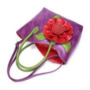 Brenice Sac à Main Femme Style National Orné de Fleur en Cuir Synthétique