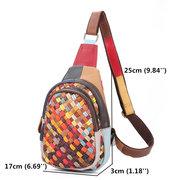 Women Genuine Leather Bohemian Handmade Sling Bags Multi-slot Chest Bag Woven Crossbody Bags