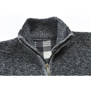 Mens Winter Casual Fleece Thicken Stitching Knit Long Sleeve Warm Jacket
