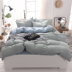 4Pcs Simple Washed Cotton Bedding Sets Striped Lattice Duvet Cover Piilowcases for Queen King Size