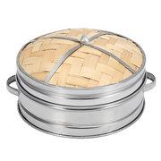 Bambus Dampfgarer Küche Kochgeschirr Korb Kocher Set Edelstahl Deckel Kochwerkzeug