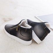 Large Size Women Casual Denim Cloth Plush Lined Zipper Flat Ankle Boots
