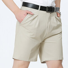 Mens Summer Thin Casual Business Solid Color Cotton Pocket Shorts